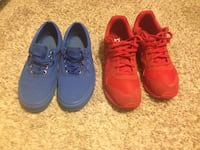 Pairs of blue and red sneakers