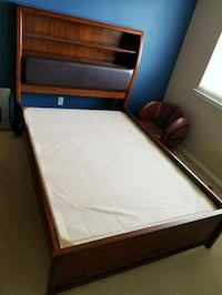 brown wooden bed frame with white mattress Lubbock, 79416