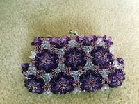 clear and purple beaded purse
