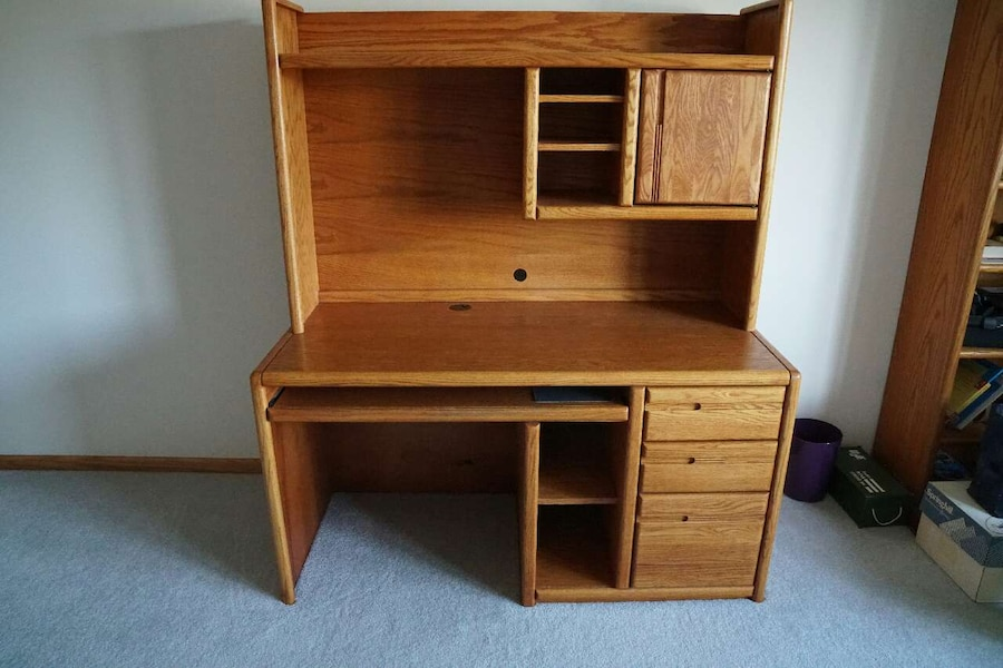 used high quality solid oak computer desk with hutch for sale in rh us letgo com