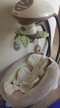 Baby's gray and green cradle and swing Broadlands, 20148