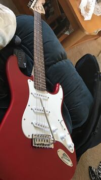 Red stratocaster styled electric guitar Shelton, 06484