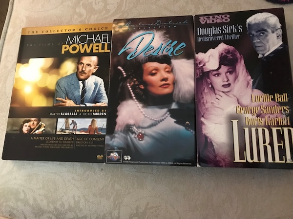 Movies of the silver screen - marlene dietrich collection: desire vhs, lucille ball  and douglas kirk's vhs movie lured, and films of michael powell: the collector's choice dvds