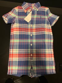 Blue and red plaid button-up shirt Temple Hills, 20748