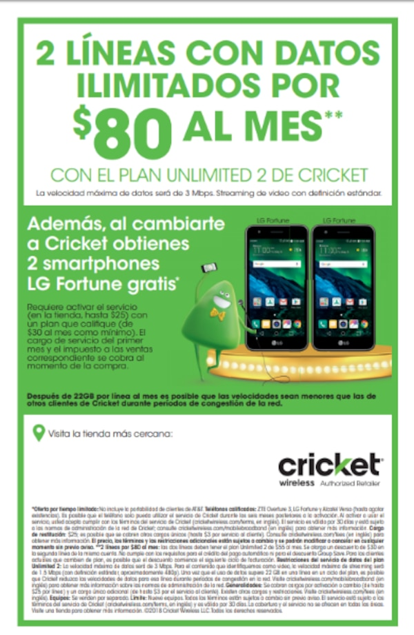 Switch To Cricket 2 Lines Or 80