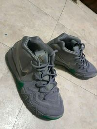 pair of gray-and-black Nike basketball shoes Boston, 02124