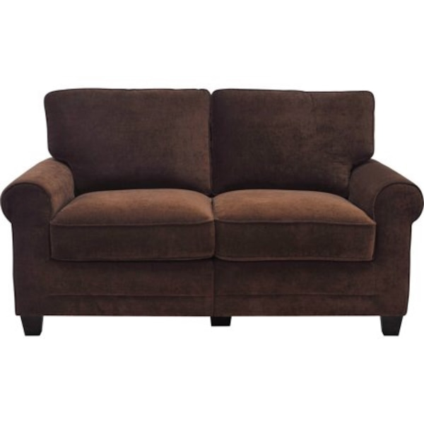 Brown fabric 2-seat sleeper sofa