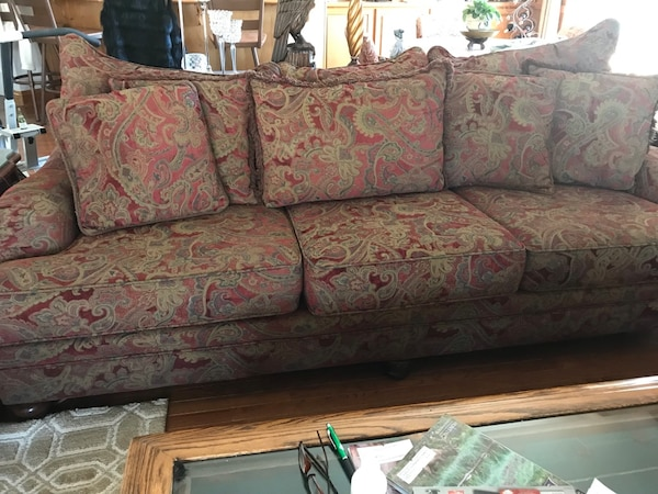 2 Sofas Wine Gold Color 200 Each Or 300 Both Gently Used