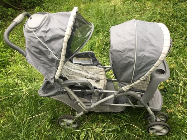 Graco Duoglider Double Stroller Gray Green