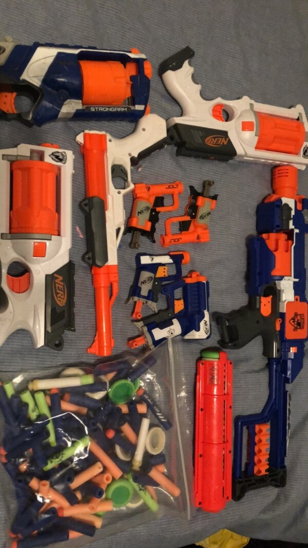 A lot of NERF stuff. 90 bullets, 3 revolvers, 1 pistol, 4 one shot pistols, and an electric semi-auto rifle