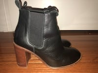Pair of black leather chelsea booties Boyds, 20841