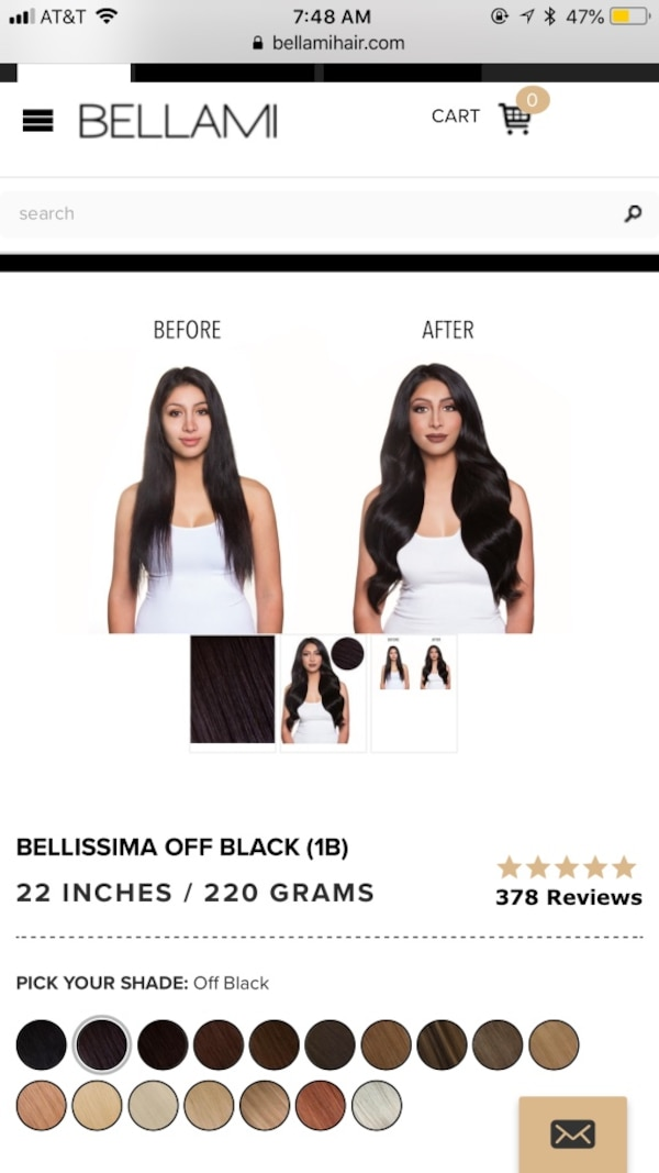22 Bellami Clip In Hair Extensions Off Black With Ponytail Included