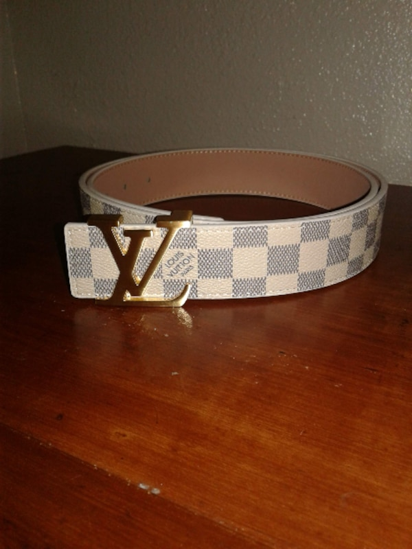 White/Gold LV Belt 1388f911-25d3-45ea-a0c5-1d9353392865