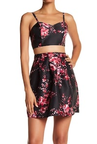 Printed Faux 2-Piece Party Dress