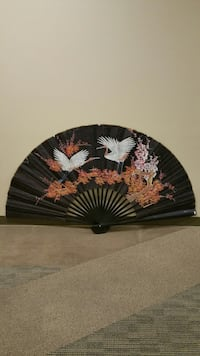 HUMONGOUS, DECORATIVE, PAPER & WOOD WALL FAN (see all photos)