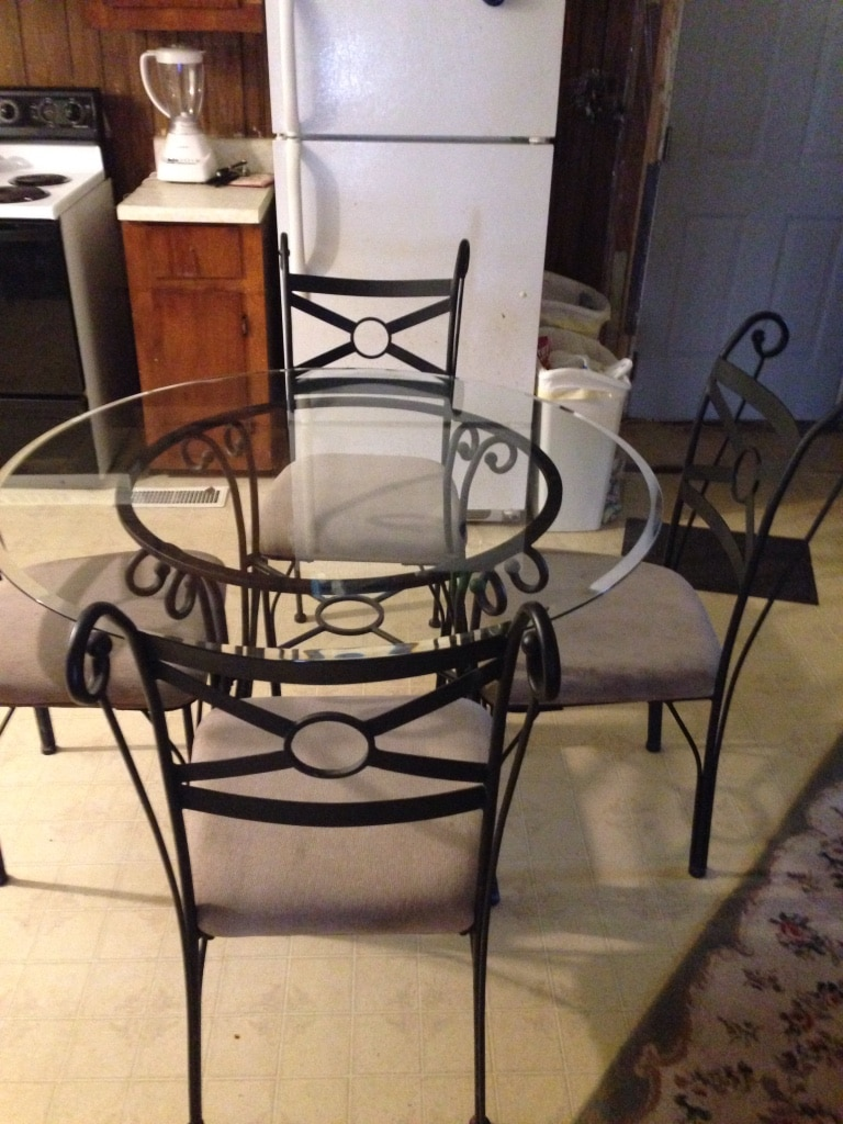 Glass Top Wrought Iron Table And Chairs