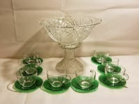 Imperial Punch Bowl with stand. Cups and saucers. Burlingame, 66413