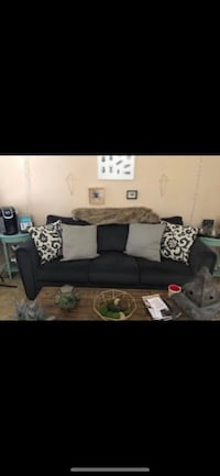 Couch with accent pillows
