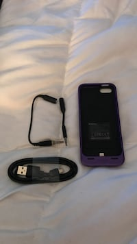 purple and black iPhone battery extender case