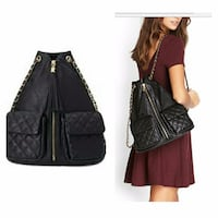 New Forever 21 Chain Strap Zip Front Leather Mini  Back Pack