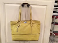 Women's yellow Fossil leather tote bag Clyde, 79510