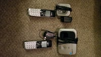 two gray-and-black cordless phones