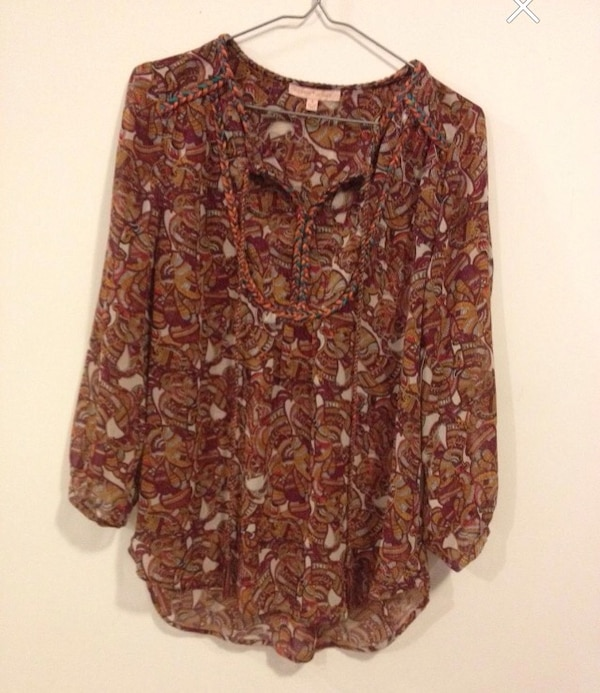 Women's orange, green and white floral summer blouse