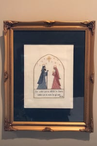"""Janet"" Framed counted cross-stitch of Nativity scene 13"" x 16"""