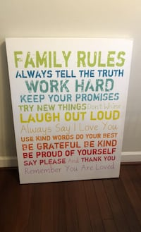 One King's Lane Family Rules Canvas Art Print Alexandria, 22304