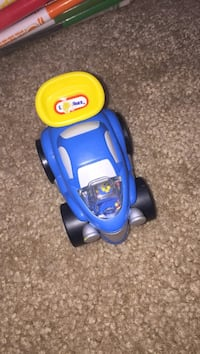 blue and yellow plastic toy car