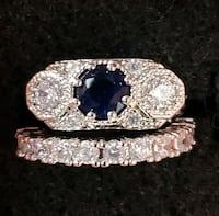 Genuine Sapphire Solitaire And Lab Diamond 925 Set Baltimore, 21224
