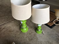 two white and green table lamps Powell, 43065