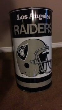 Raiders 1980 era antique trash can decorative trash can 29 in high Altadena, 91001