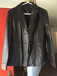 Black leather button-up coat