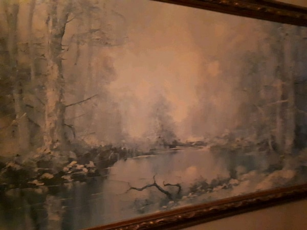 brown wooden framed painting of trees