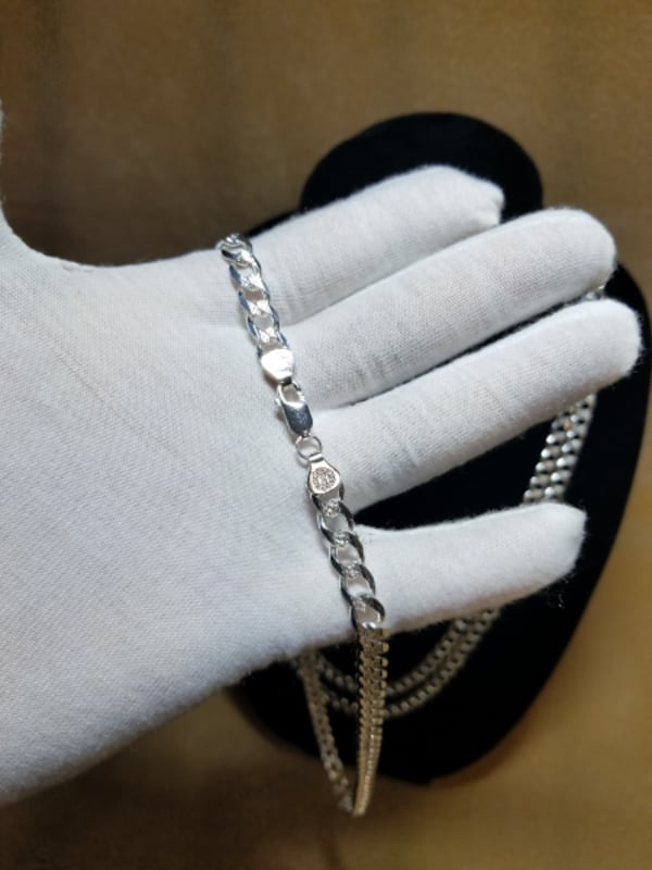 Cuban Curb Link Chain Diamond Cut Necklace .925 Sterling Silver 7mm 4