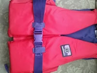 red and black life vest