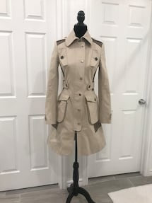Karen Mullen POSH COTTON KNEE LENGTH TRENCH COAT IN NATURAL