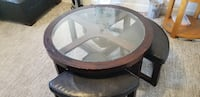 round black wooden framed glass top coffee table SURREY
