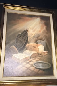 Authentic j.coleman hands of prayer painting