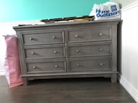 Grey wooden 6-drawer dresser