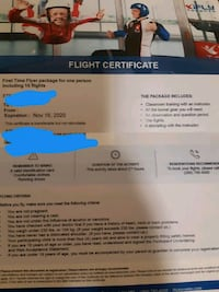 iFly Certificate (10 flights for 1 Person) and Souvenir Certificate