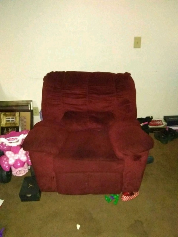 red suede recliner sofa chair
