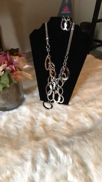 silver-colored chain necklace with pendant Crofton, 21114