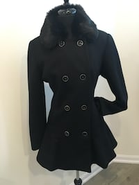 New black flared coat size L