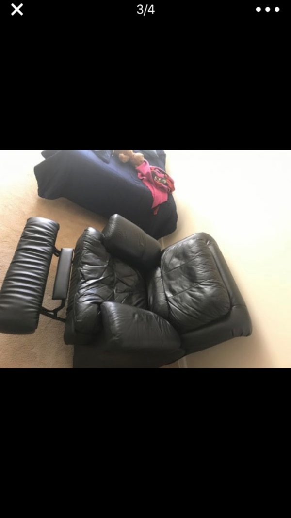 Single seat all black leather recliner couch