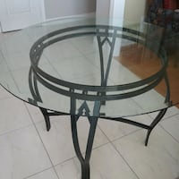Tempered glass top kitchen's table with metal base Mississauga, L5N 6N8
