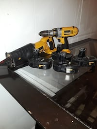 yellow-and-black DeWalt cordless hand drill and reciprocating saw