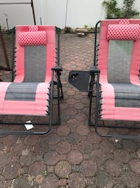 black and red metal frame armchair2 for $25. West Babylon, 11704
