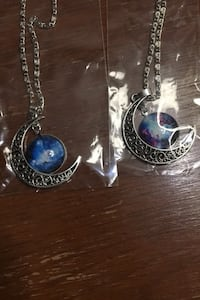 Fashion silver chain moon shape pendant necklace set of 2